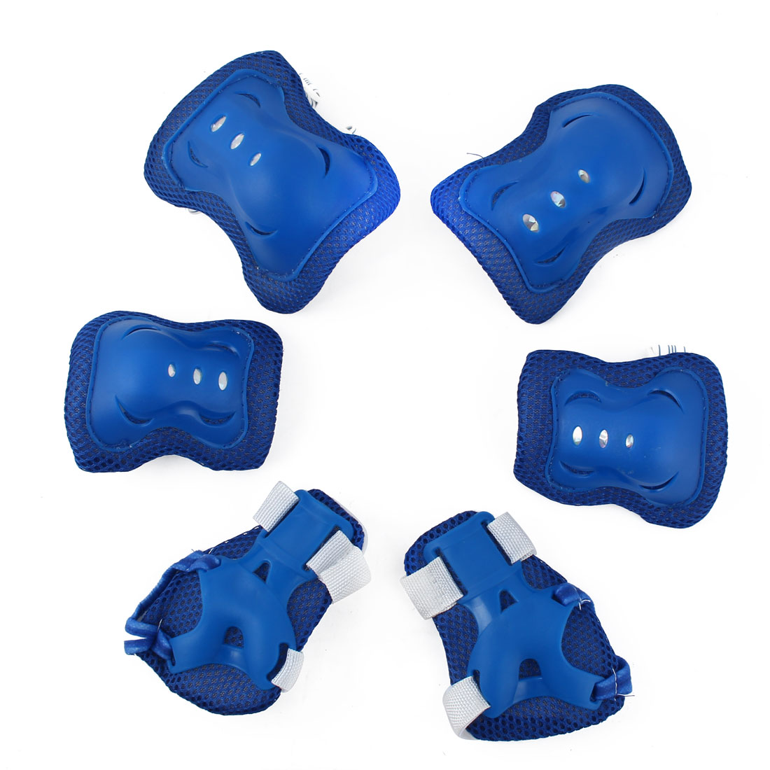 Bicycle Roller Blading Wrist Elbow Knee Guards Pads Support Brace Protector Gear Blue 6 in 1 Set