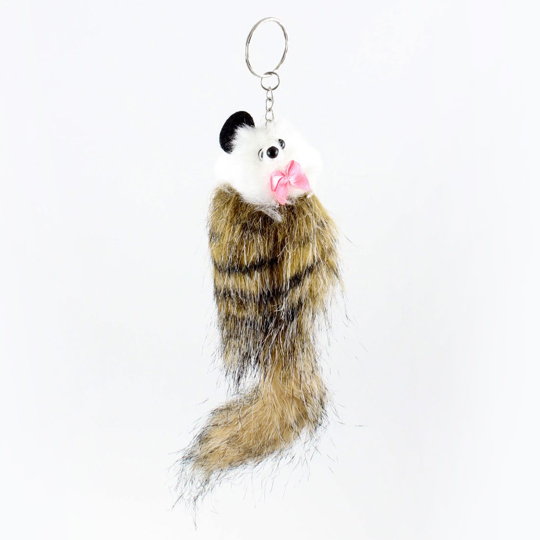 Khaki Black Stripe Pattern Mouse Keyring Pendant for Cell Phone Mp3 Mp4