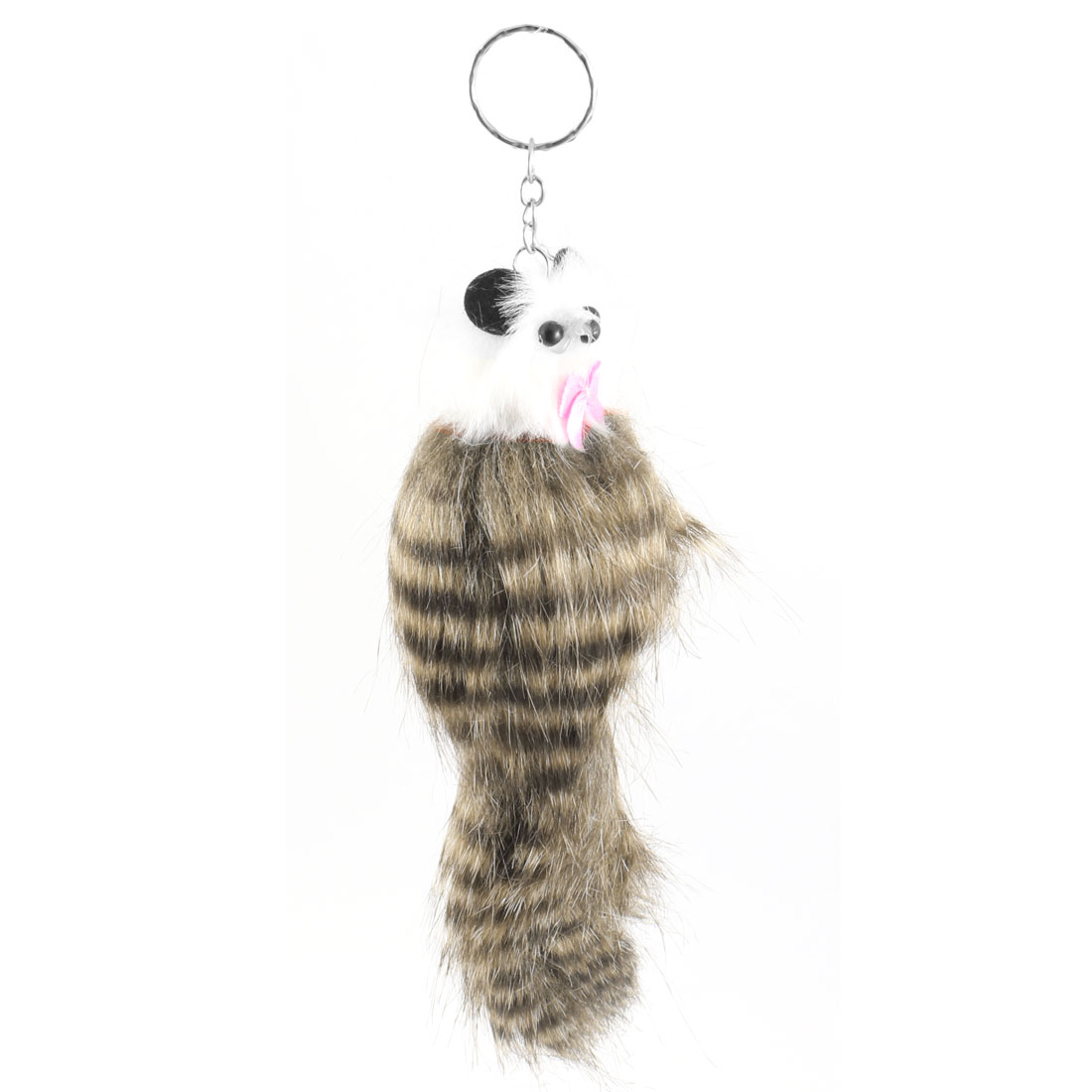 Brown Stripe Pattern Feather Mouse Keyring Keychain Pendant
