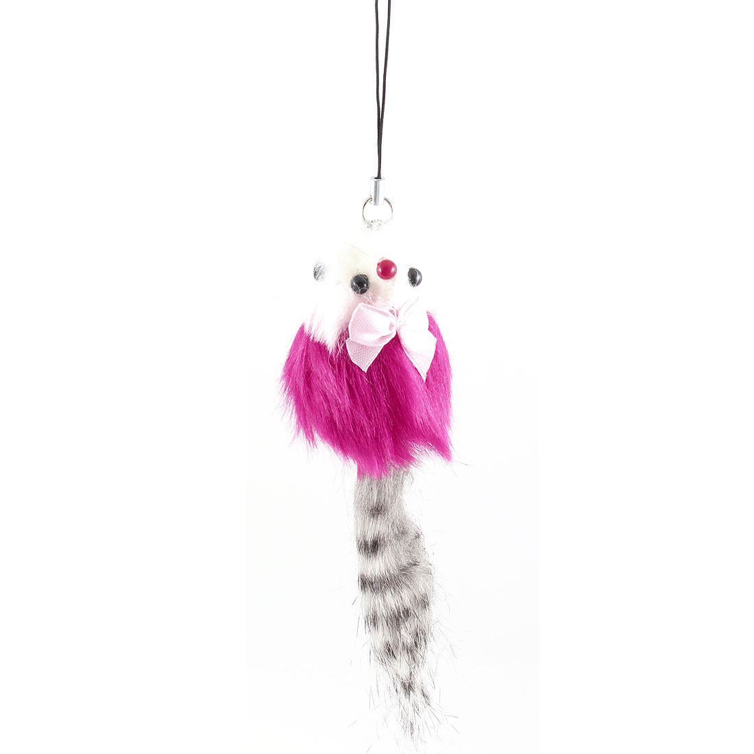 Carmine Gray Feather Pink Bow Dec Mouse Strap Pendant for Phone Handbag