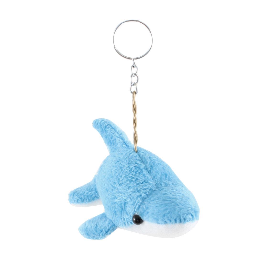 Blue White Cutton Blend Dolphin Keyring Pendant for Wallet Handbag