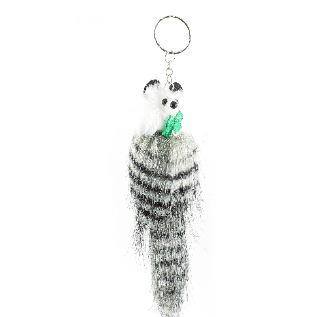 Women Ladies Accessory Gray Black Feather Mouse Keyring Pendant