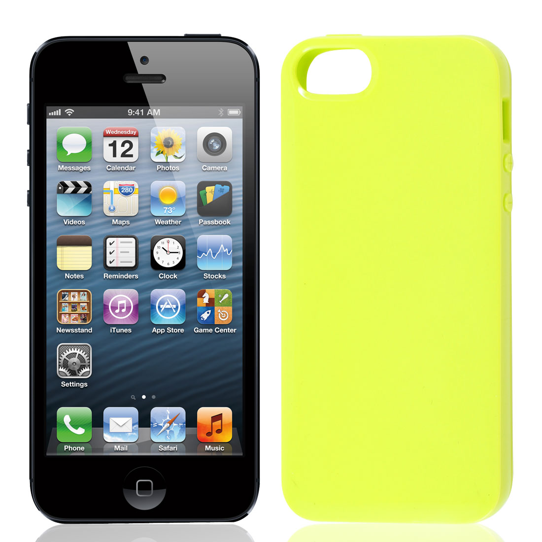 Yellow Green TPU Soft Plastic Protect Back Case Cover for iPhone 5 5G