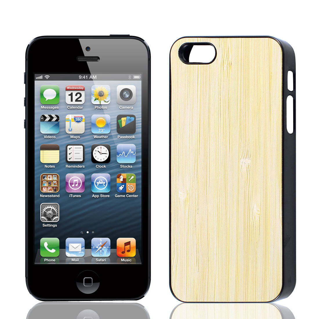 Bamboo Pattern Plastic Protector Case Cover Black Beige for iPhone 5 5G