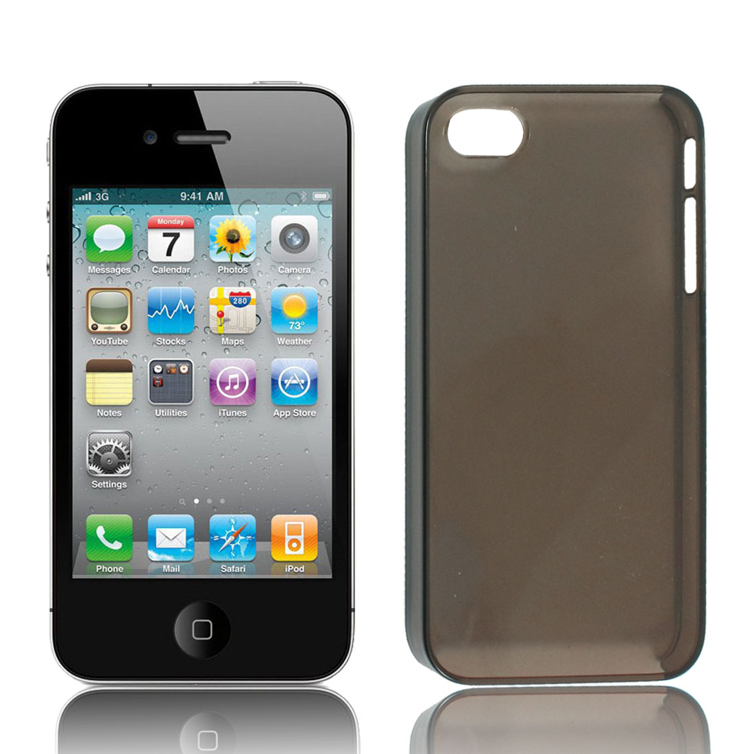 Clear Gray Plastic Protective Hard Back Case Cover for iPhone 4 4S 4G 4GS