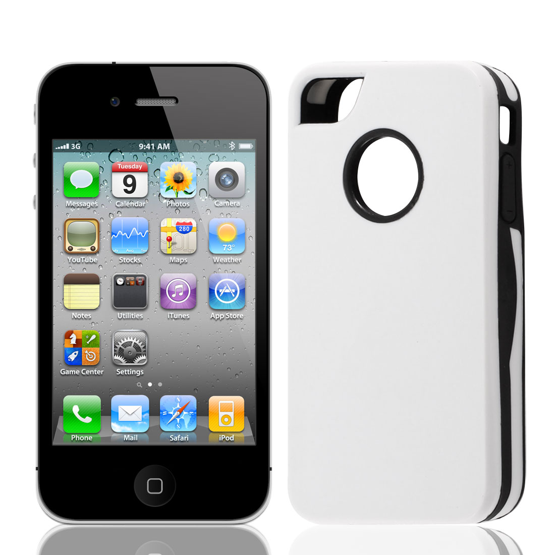 Black White Plastic Protector Back Case Cover for Apple iPhone 4 4G