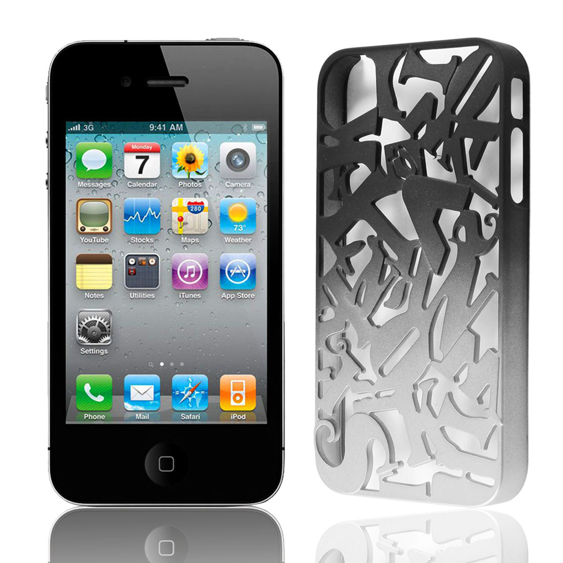 Black Silver Tone Plastic Cutt Off Letter Hard Back Case Cover for iPhone 4 4S 4G 4GS