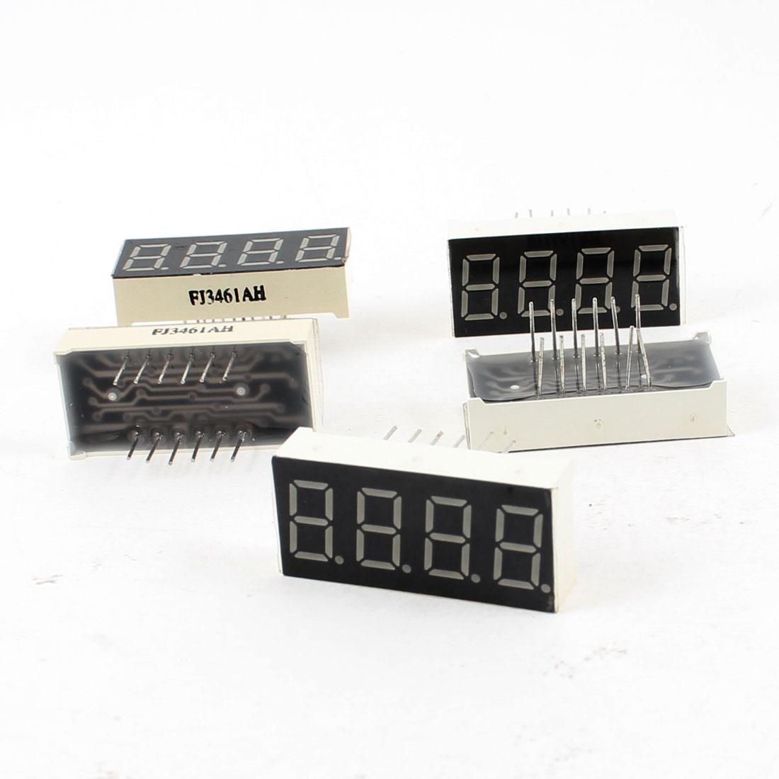 "5 Pcs Common Cathode 12 Terminals 4 Bit 7 Segment 0.36"" Red LED Display Digital Tube"
