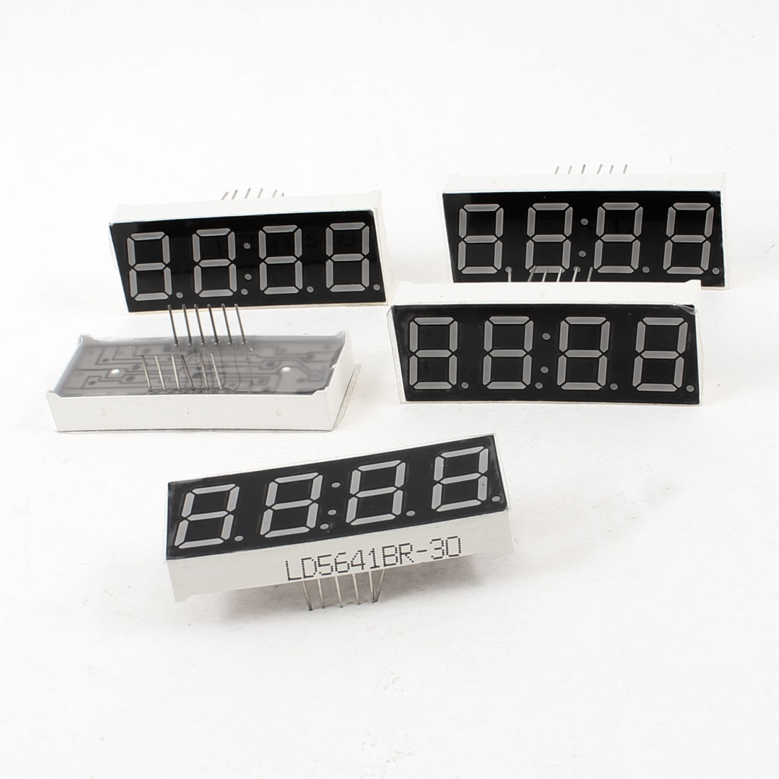 "5 Pcs Common Anode 12 Terminals 4 Bit 7 Seg 0.56"" Red Clock LED Display Digital Tube"