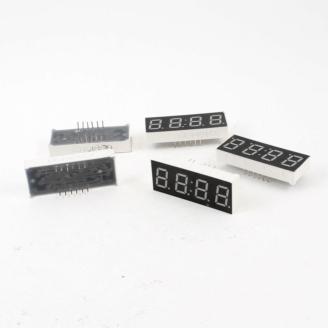 "5 Pcs Common Cathode 12 Terminals 4 Bit 7 Segment 0.4"" Red LED Display Digital Tube"