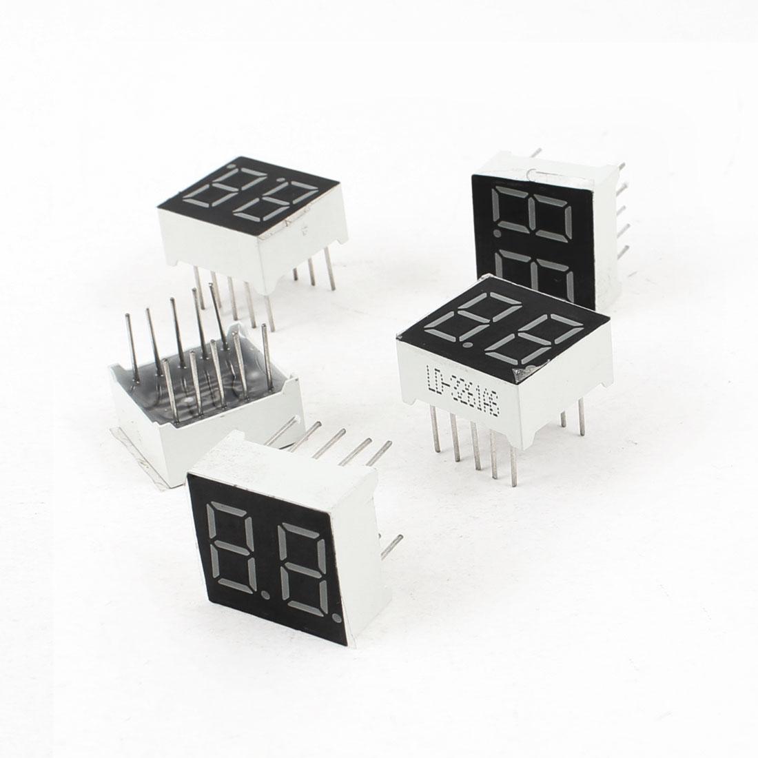 "5 Pcs Common Cathode 10 Pin 2 Bit 7 Segment 0.36"" Red LED Display Digital Tube"