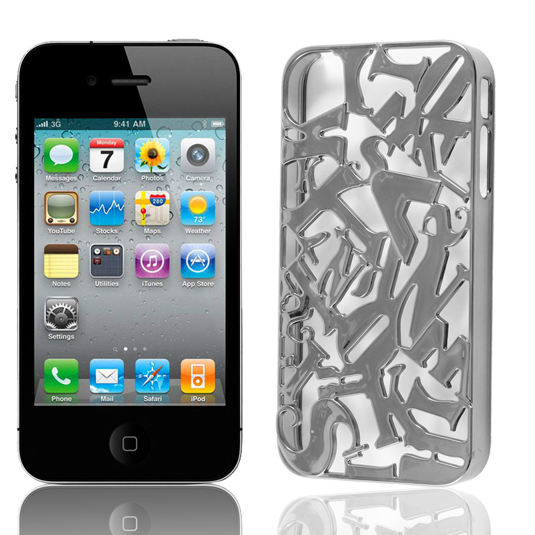 Gun Gray Color Plastic Hollow Out Letter Back Case Cover for iPhone 4 4S 4G 4GS