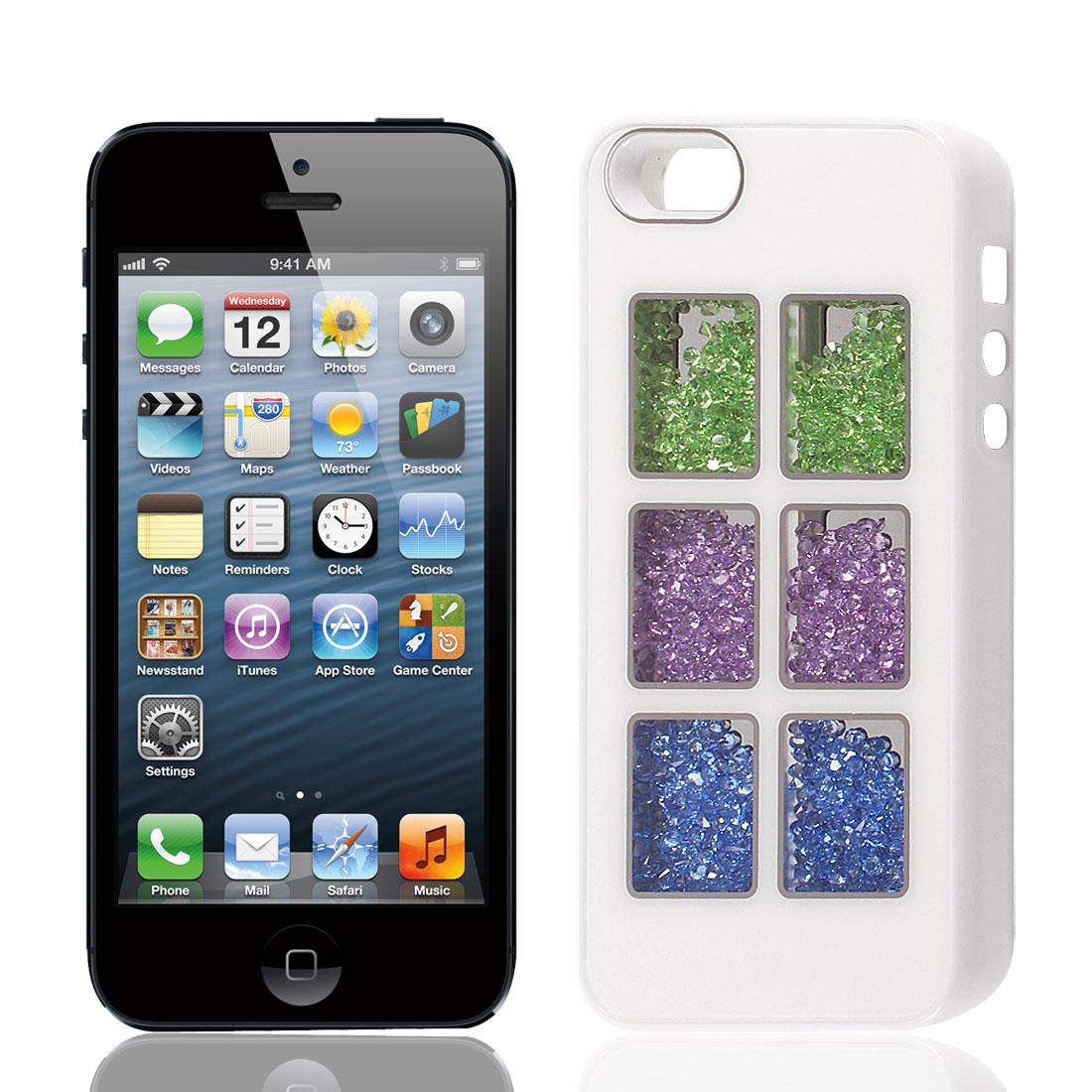 Square Pattern Aluminum Inlaid Protect Case Cover White for Apple iPhone 5 5G