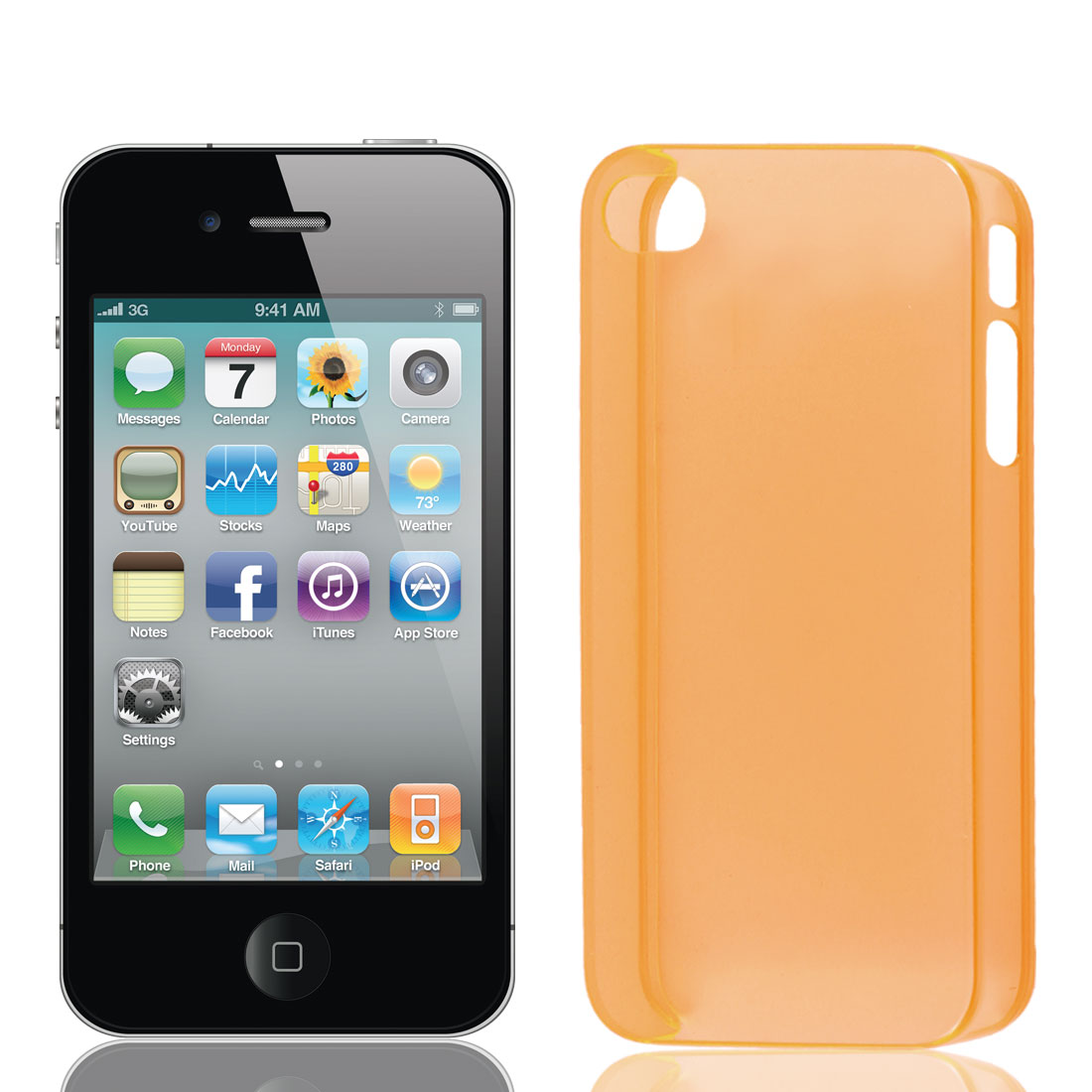 Ultrathin Orange Plastic Protective Case Cover for iPhone 4 4G