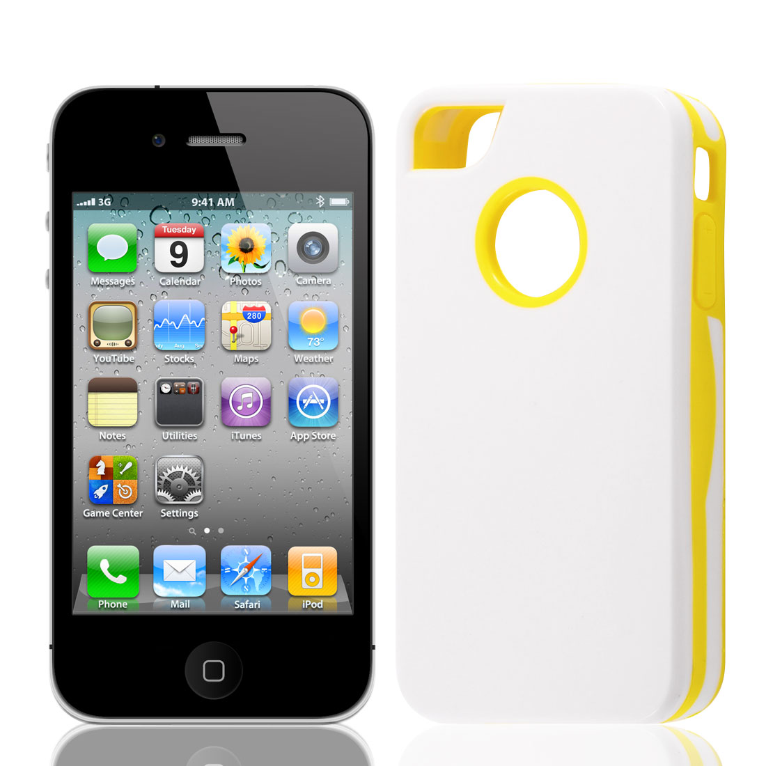 Yellow White Plastic Protector Back Case Cover for Apple iPhone 4 4G