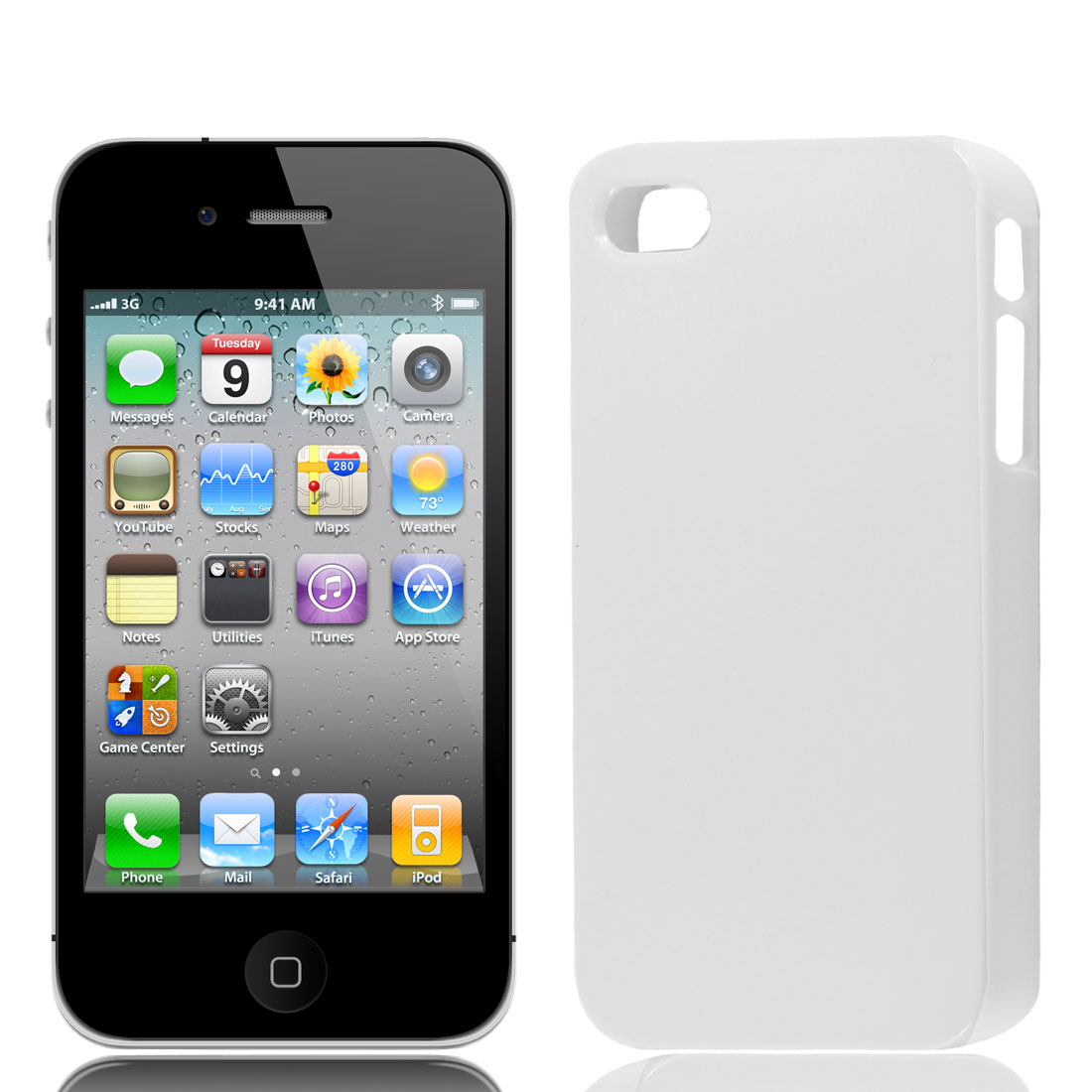 White Plastic Protector Back Case Cover for iPhone 4 4S 4G 4GS 4th