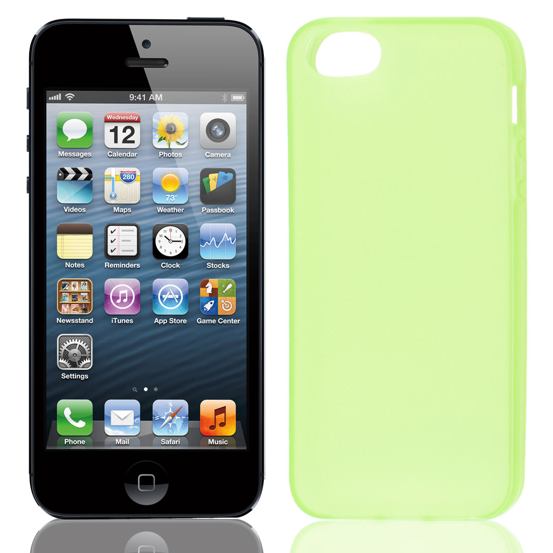 Solid Green TPU Soft Plastic Protect Back Case Cover for iPhone 5 5G