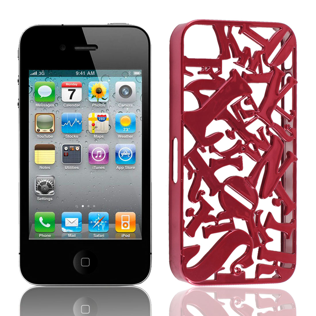 Red Plastic Cutt Off 3D Letter Back Case Cover Shell for iPhone 4 4S 4G 4GS
