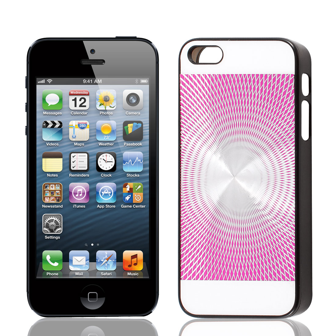CD Disc Pattern Aluminum Inlaid Protector Case Cover for iPhone 5 5G