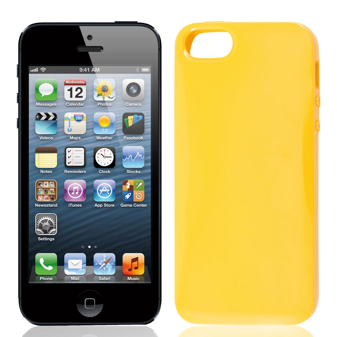 Solid Yellow TPU Soft Plastic Protect Back Case Cover for iPhone 5 5G