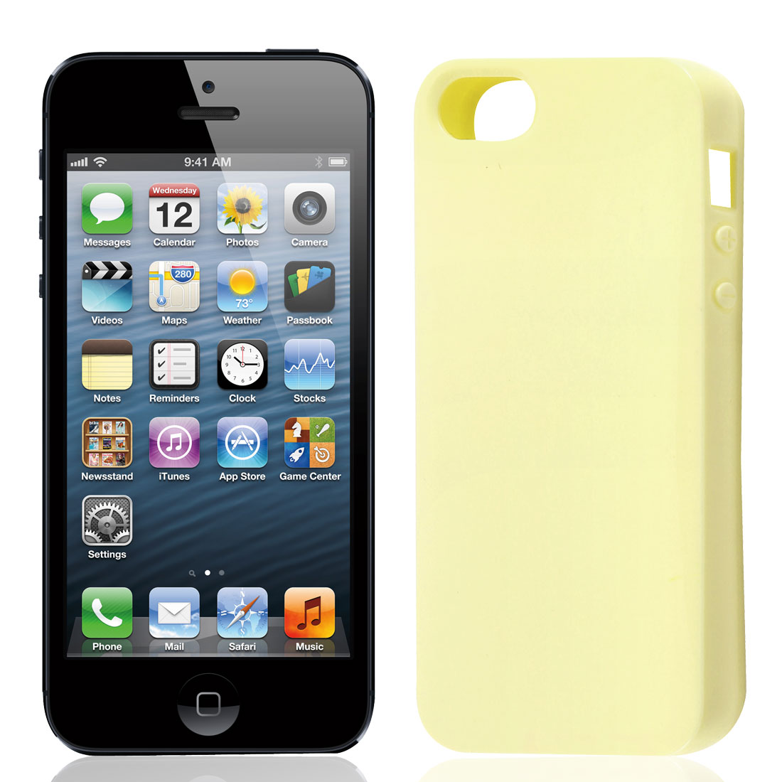 Beige TPU Soft Plastic Protect Back Case Cover for iPhone 5 5G