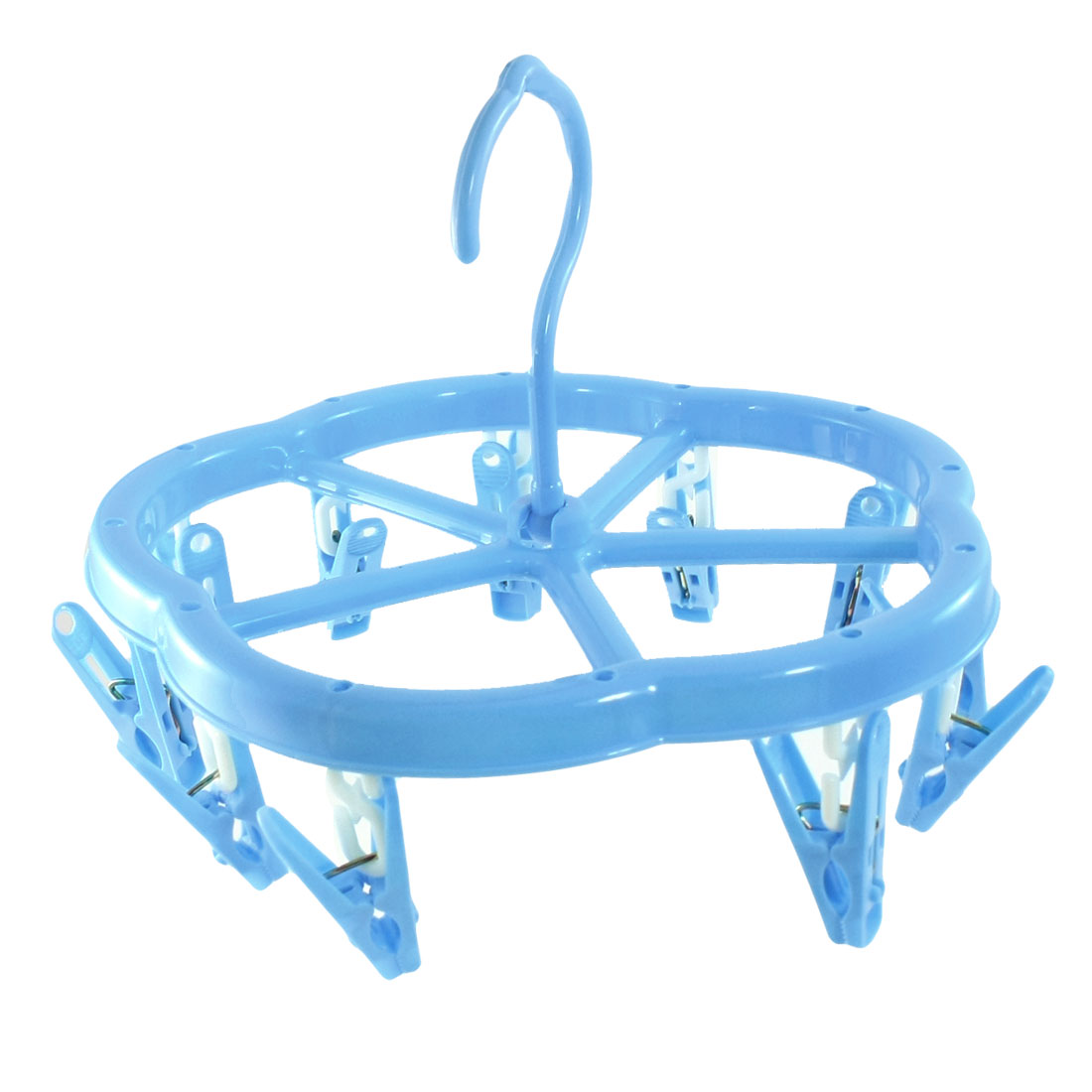 Plastic 12 Pegs Underwear Bra Shoelace Socks Clothes Hanger Clips Blue