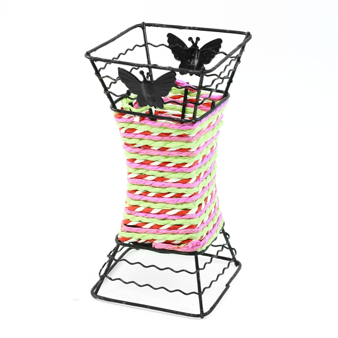 Braided Cord Decor Ruler Eraser Pen Holder Container Organizer Black