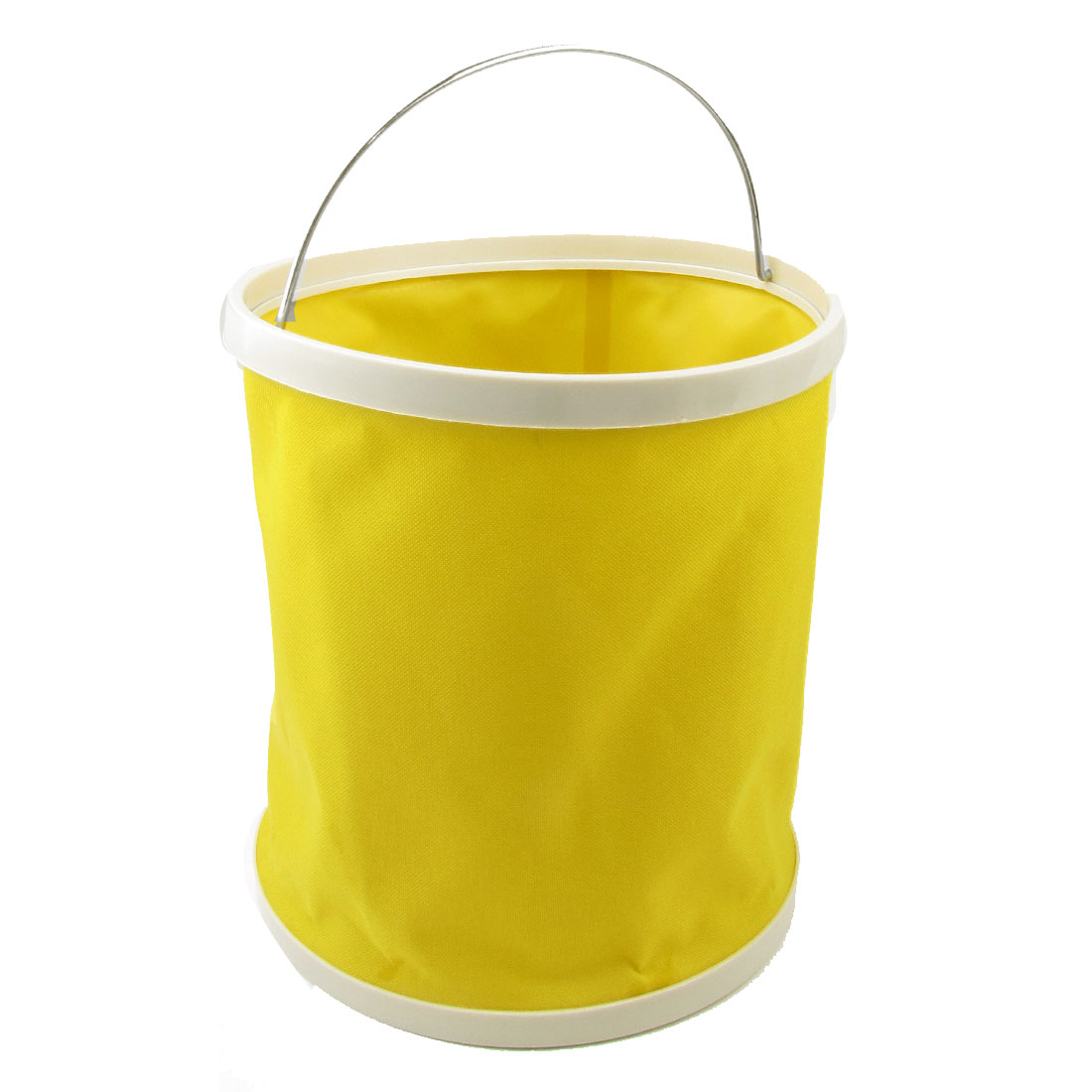 Vehicle Cars Foldable Foldaway Bucket Container Trash Bin Yellow 9L