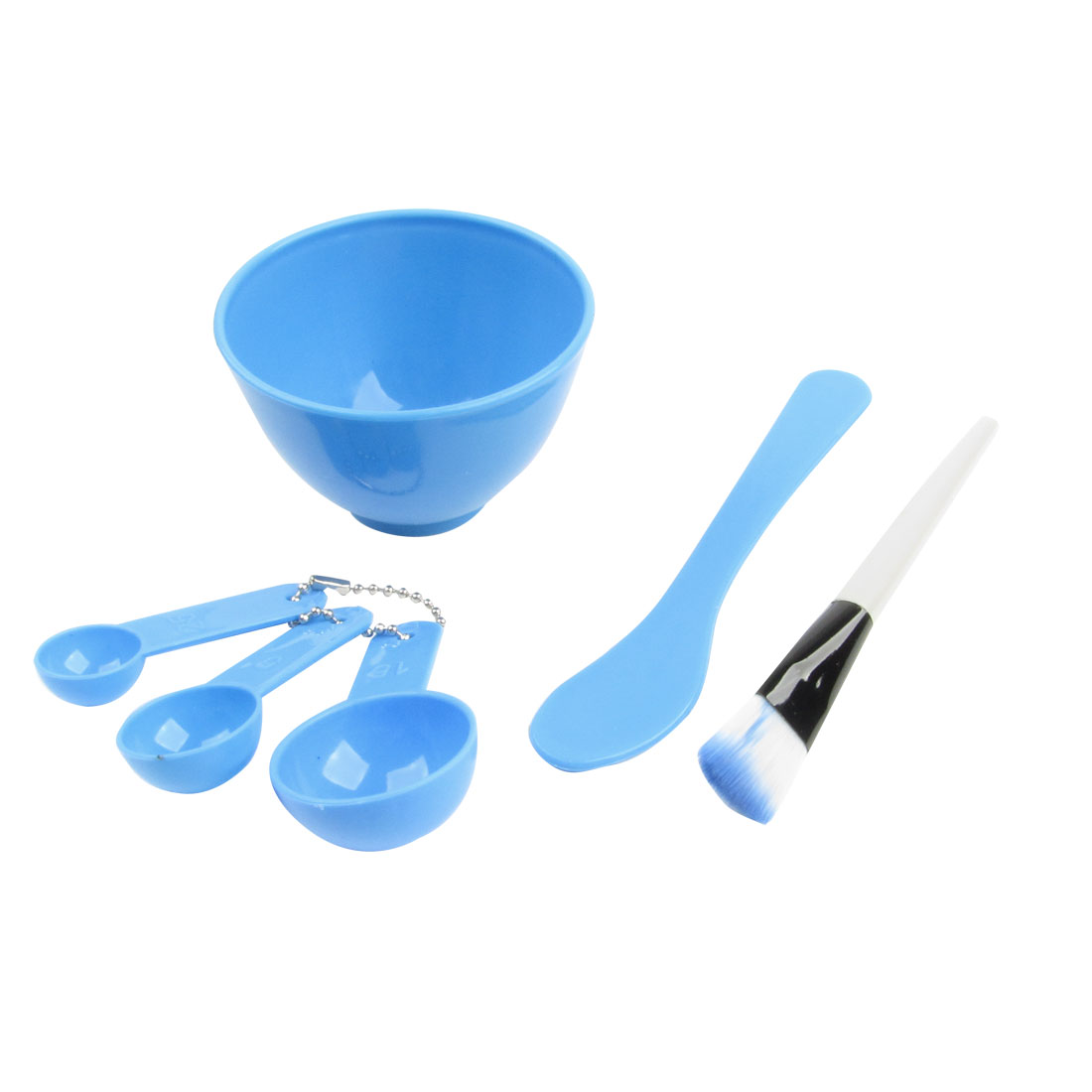 Ladies DIY Homemade Mask Dodger Blue Soft Bowl Spoons Brush Stick Facial Set