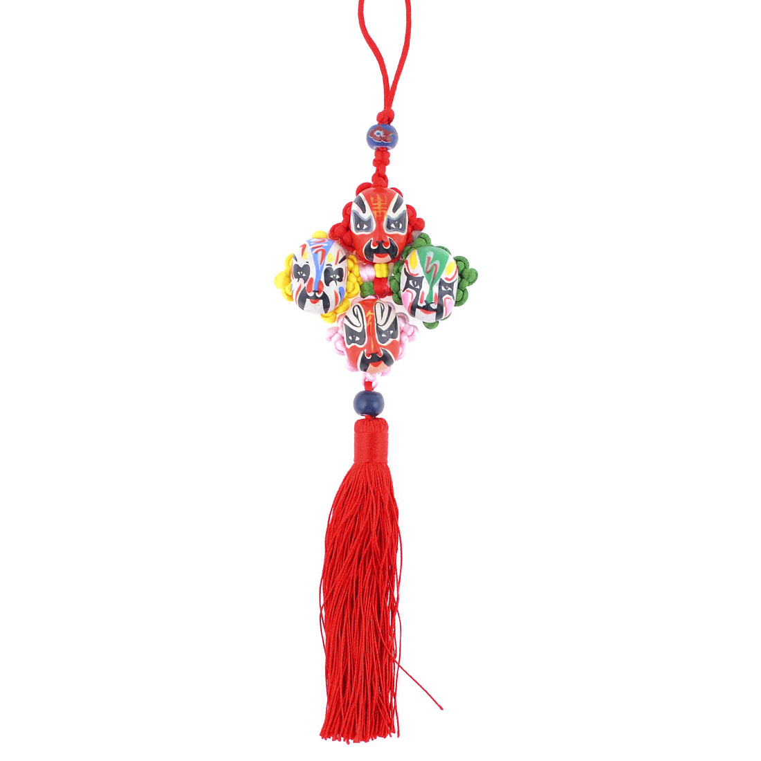 Colorful Chinese Knot Opera Mask Tassel Dangle Ornament for Auto Car