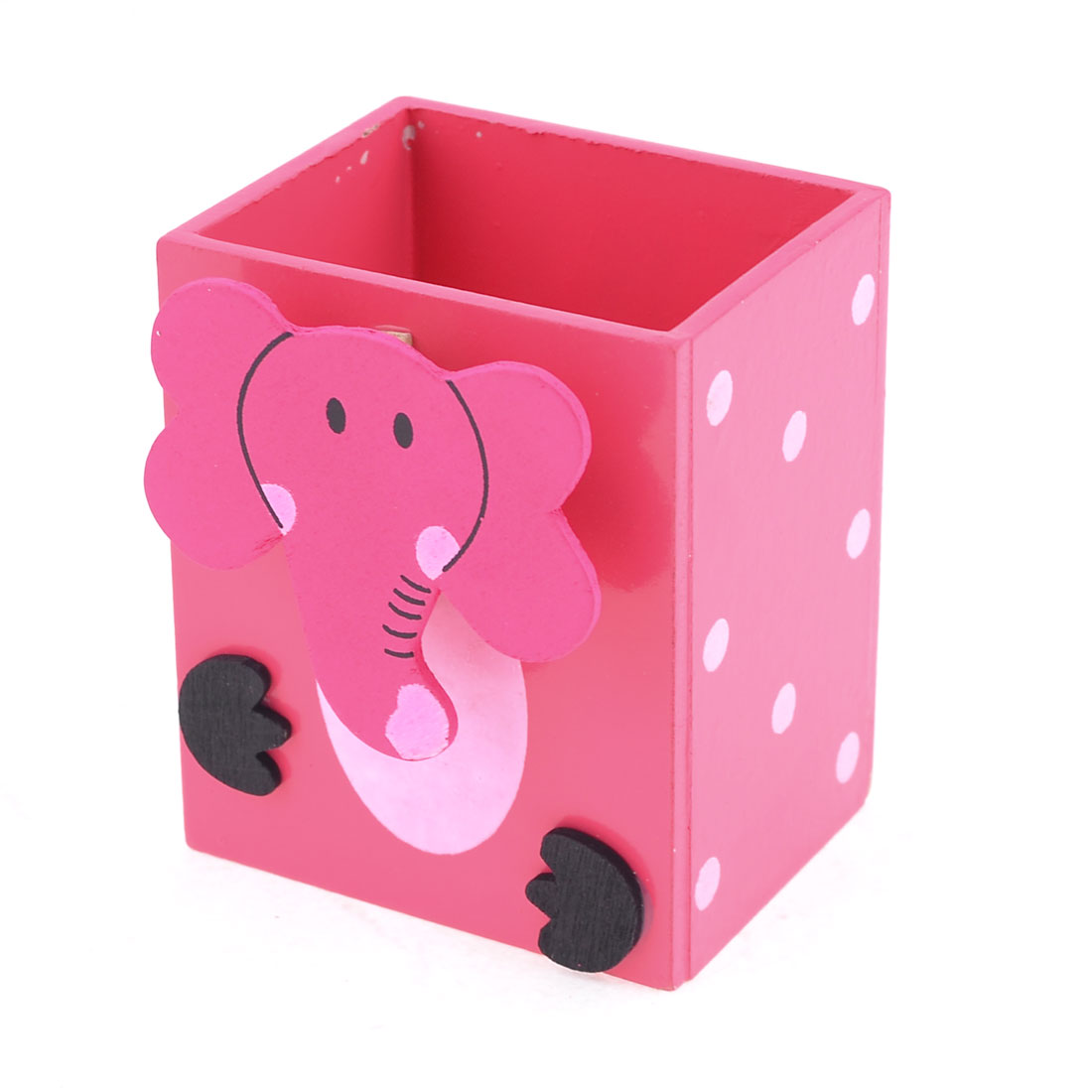 Hot Pink Rectangle Cartoon Elephant Wood Pen Pencil Holder with Memo Clip