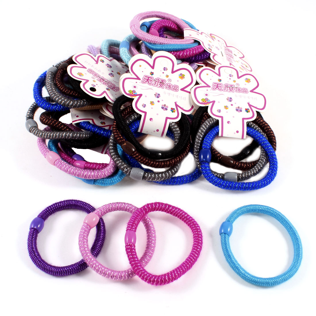 Assorted Color Nylon String Coated Elastic Hair Band Ponytail Holder 48 Pcs