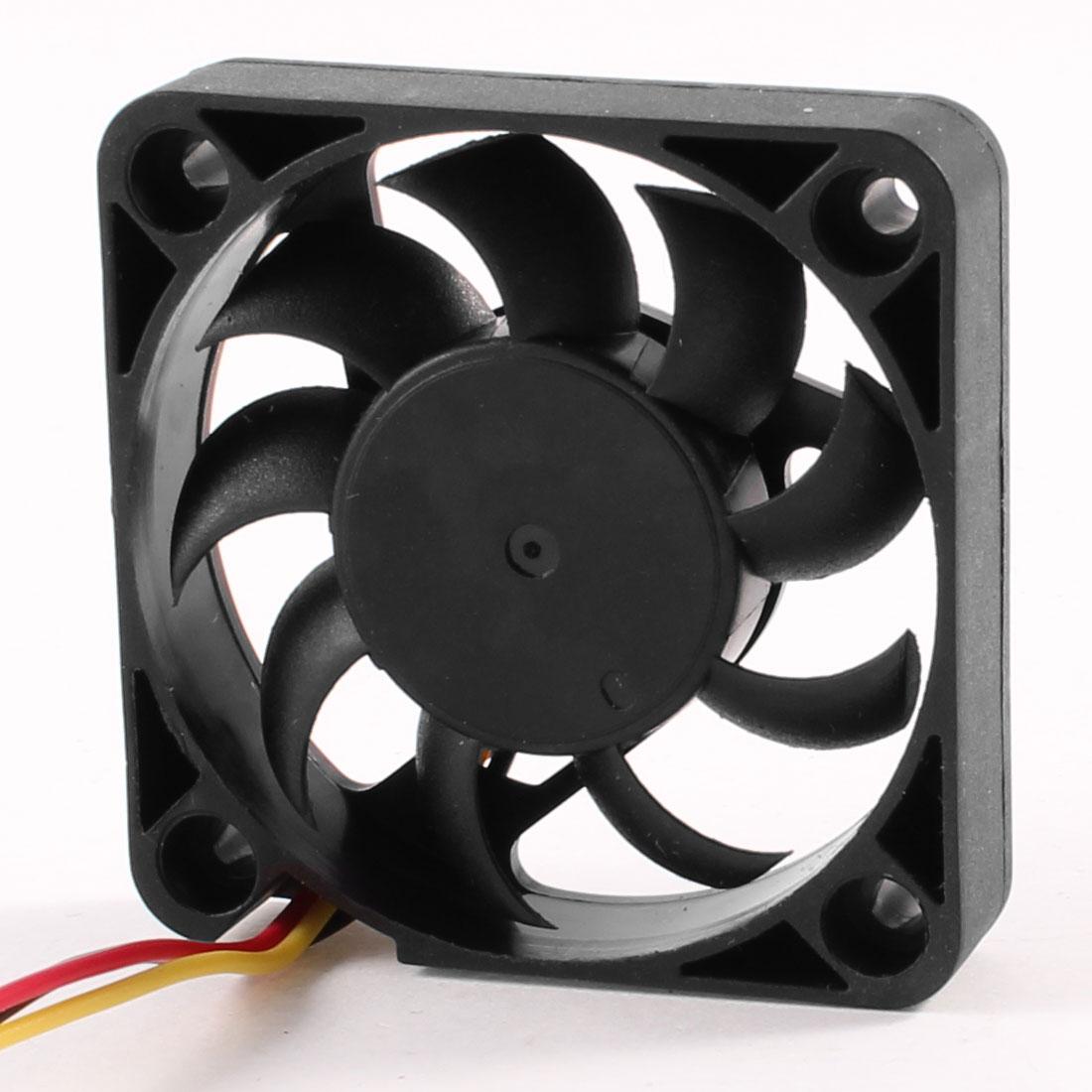 Laptop Computer Case 3 Pins Connector CPU Cooling Fan 50mmx50mm DC 12V Black