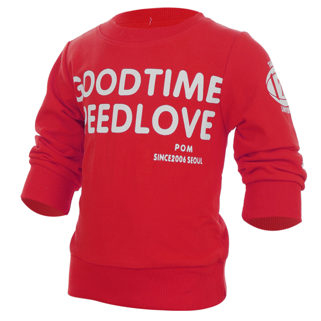 Baby Kids Round Neck Long Sleeve Letters Pattern Red T-Shirt 12 Month