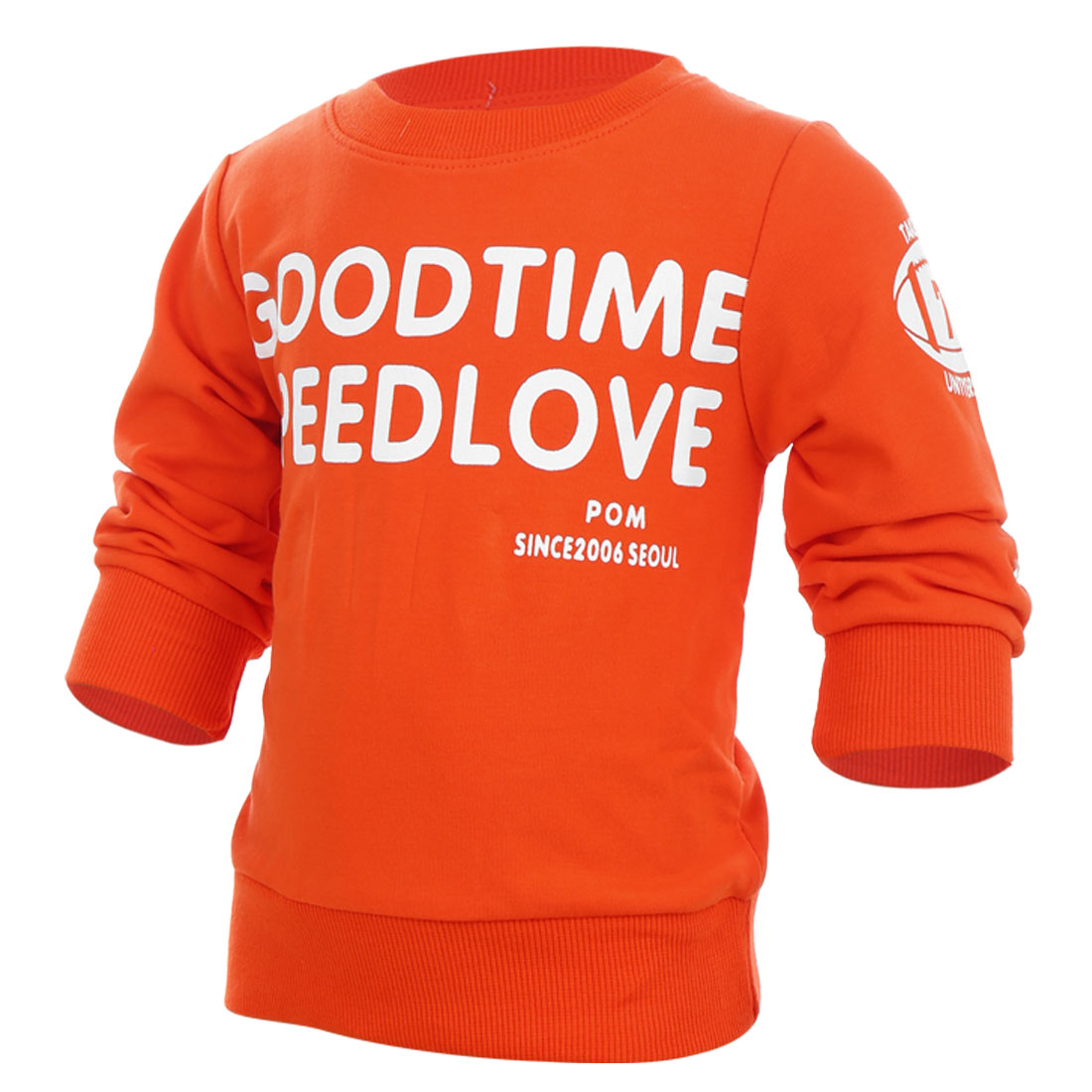 Kids Round Neck Long Sleeve Pretty Orange Color Spring Casual T-Shirt 2T