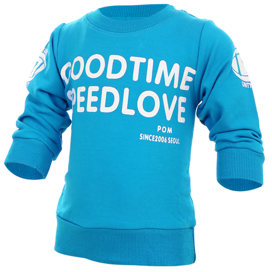 Children New Fashion Round Neck Long-Sleeved Blue Spring Top Shirt 12 Month