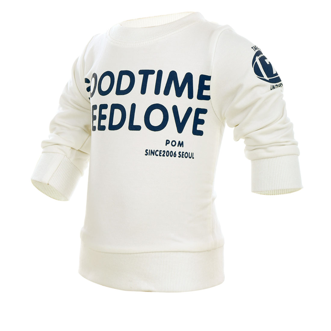 Boys Girls Round Neck Long-Sleeved White Color Letters Prints T-Shirt 12 Month