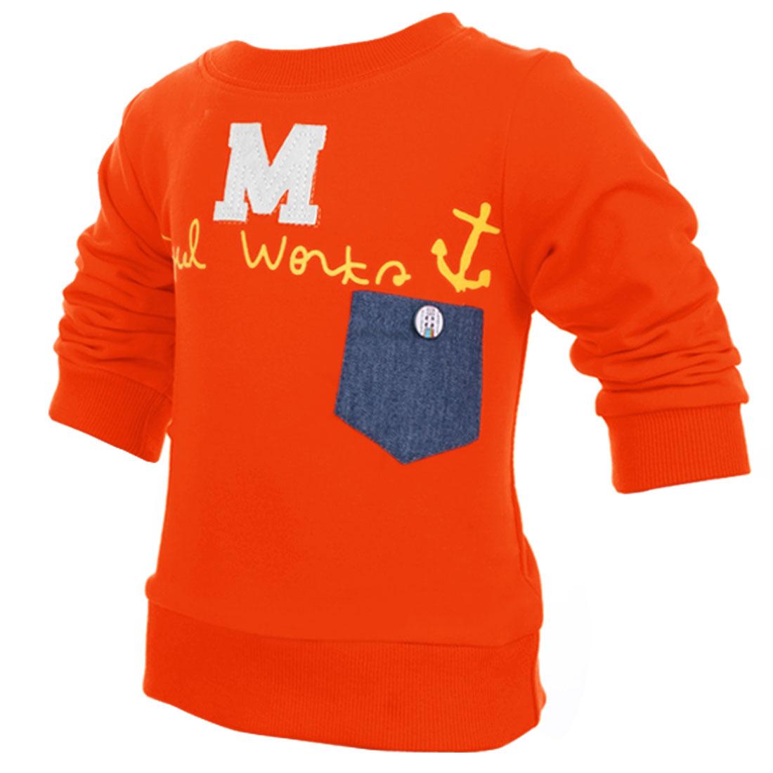 Child Round Neck Comfortable Letter M Pattern Orange Shirt 4T
