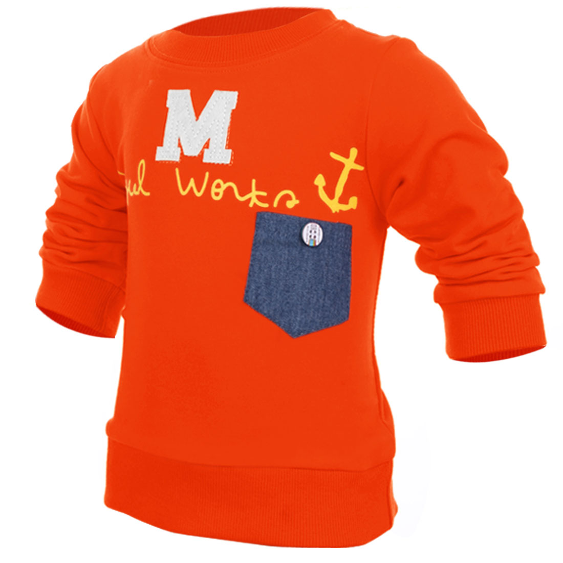 Kids Round Neck Letter M Pattern Pullover Comfortable Orange T-Shirt 4