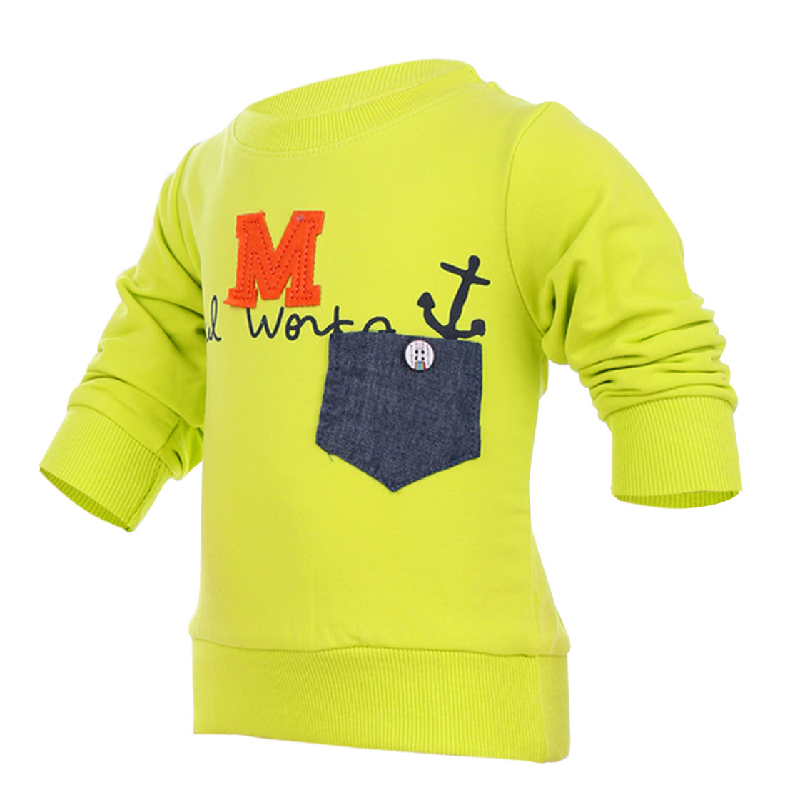 Kids Round Neck Stretchy Letter M Pattern Pullover Design Green T-Shirt 4
