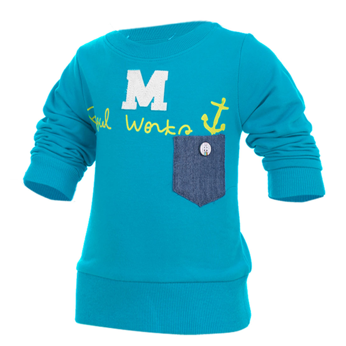 Child Leisure Letter Pattern Pocket Decor Stretchy Blue Pullover Tee 3T