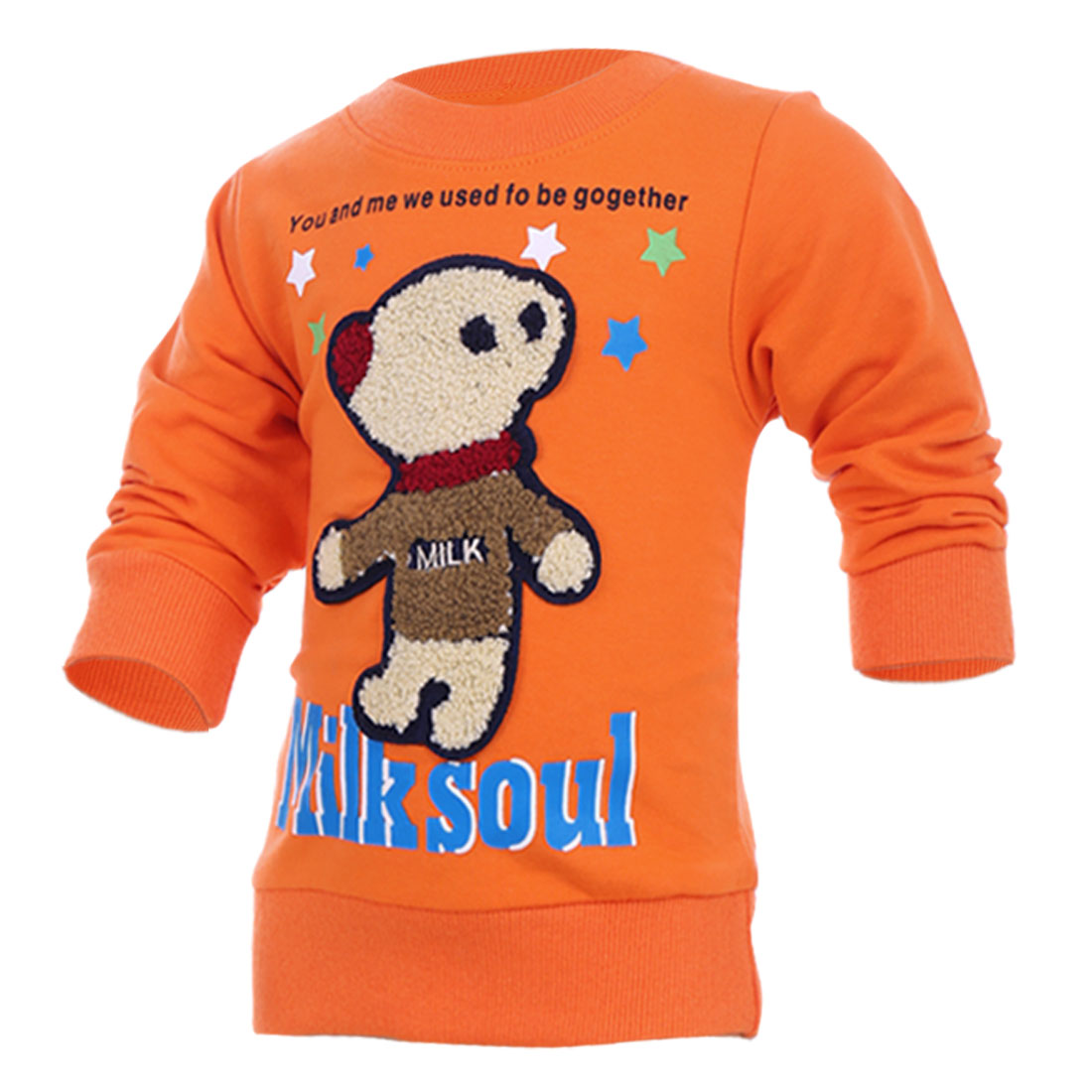 Children Cute Cartoon Bear Panel Front Orange Casual Top Shirt 2T