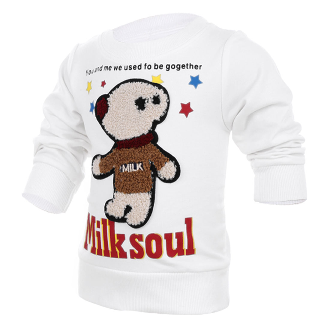 Pullover Long Sleeve Cartoon Bear Panel Front White Top Shirt for Kids 4T