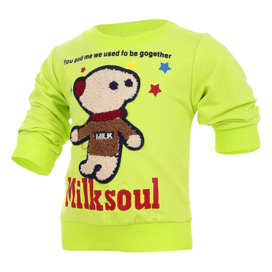 Boys Girls Cartoon Bear Panel Front Lime Color Spring Top Shirt 3T