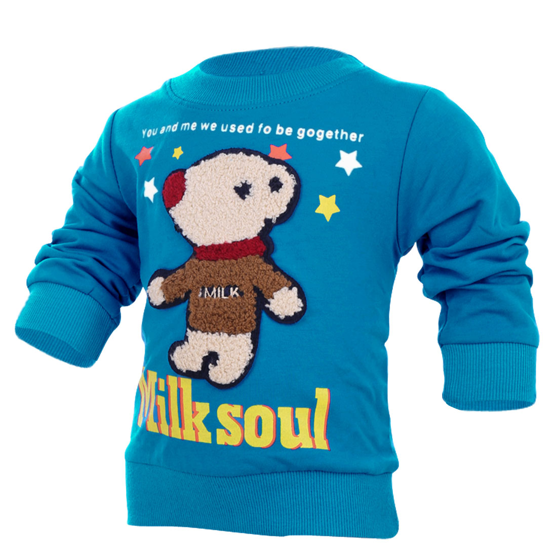 Boys Girls Cute Cartoon Bear Panel Front Blue Spring Sweatshirt 4T