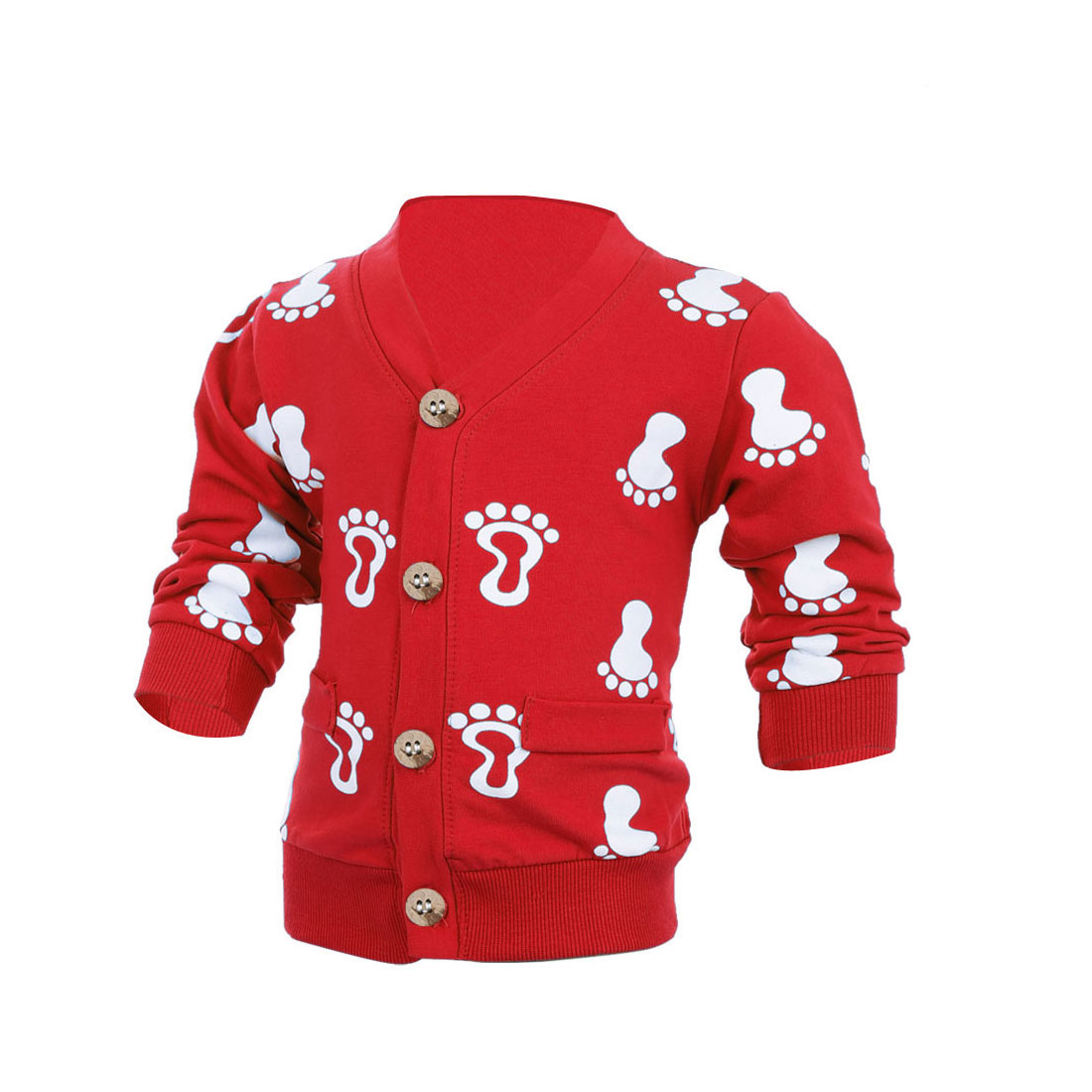 Child Long Sleeve Single-Breasted Footprints Pattern Cardigan Red 3T