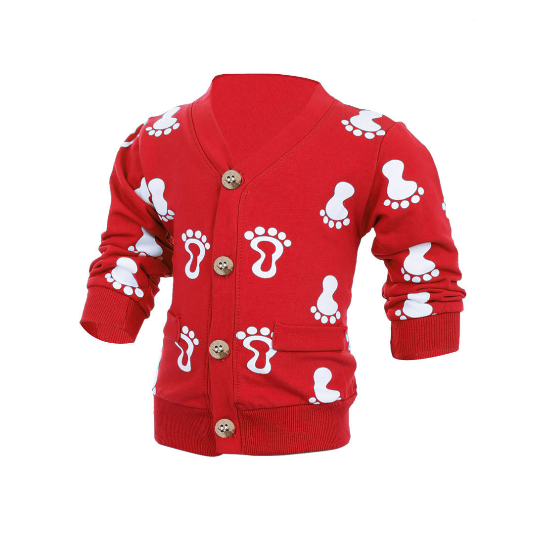 Child Long Sleeve Single-Breasted Footprints Pattern Cardigan Red 4T