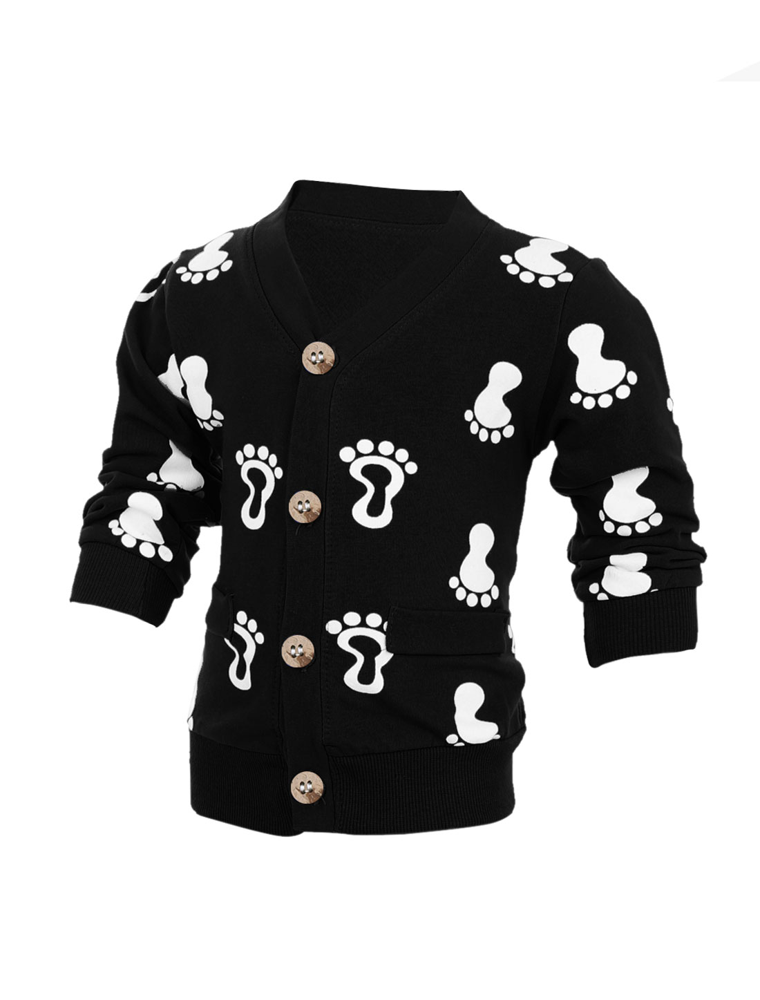 Child Long Sleeve Single-Breasted Footprints Pattern Cardigan Black 2T