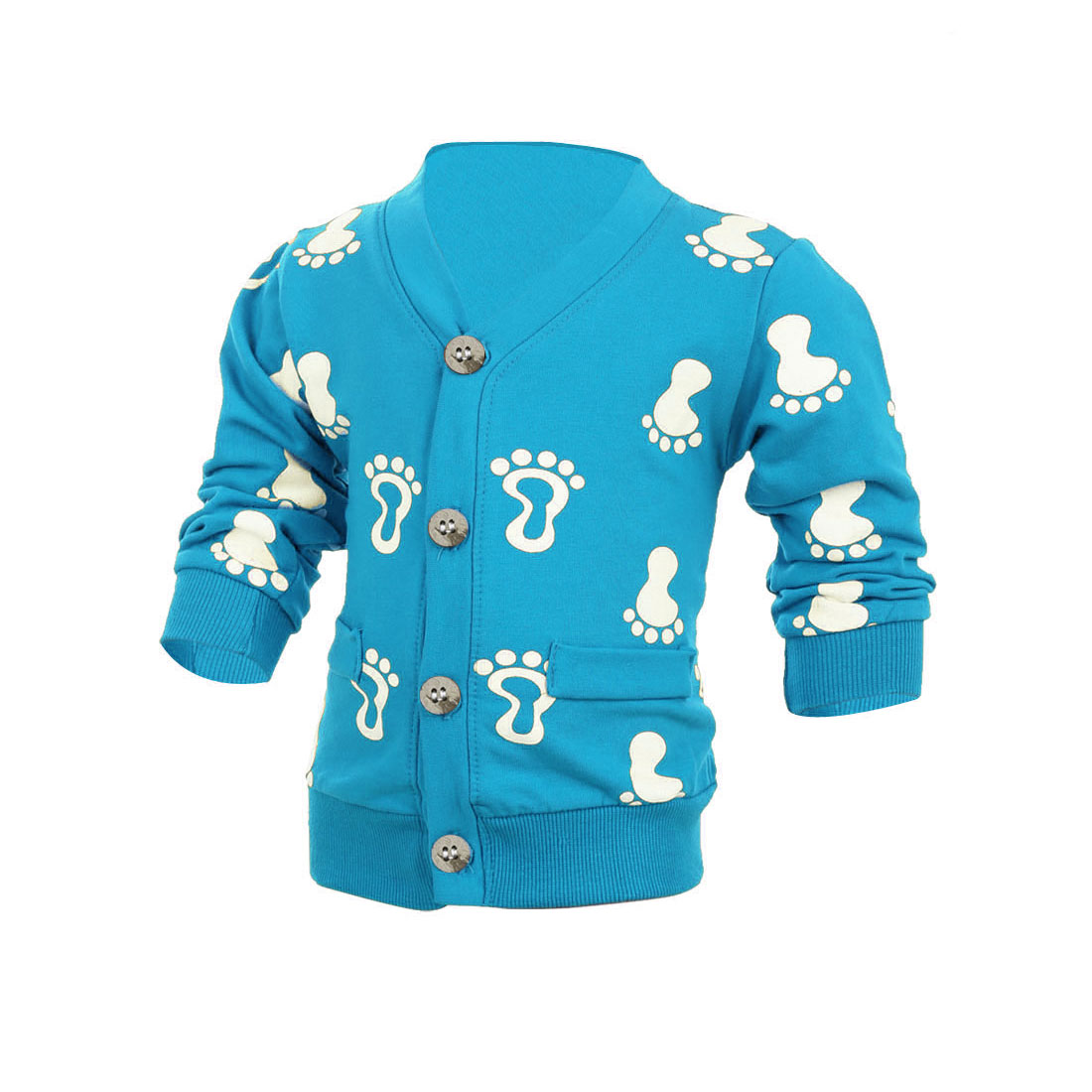 Child Long Sleeve Single-Breasted Footprints Pattern Cardigan Blue 3T