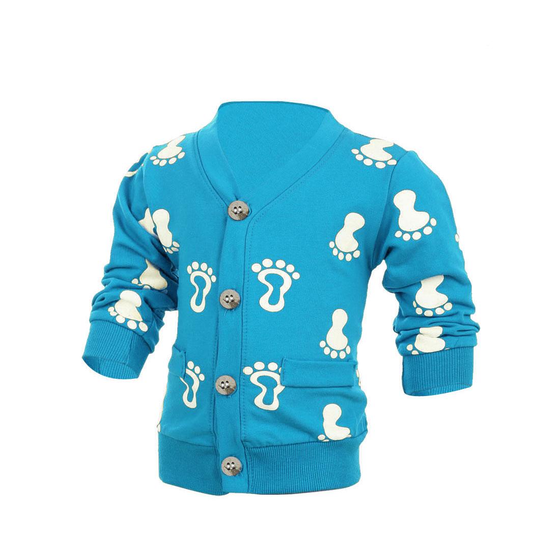 Child Long Sleeve Single-Breasted Footprints Pattern Cardigan Blue 4T